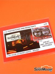 Czech Truck Model: Lights 1/25 scale - US front lights round - photo-etched parts