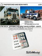 Czech Truck Model: Lights 1/25 scale - Peterbilt 359 conventional and 352 and Hayes - full colour photo-etched parts - for AMT reference AMT1090, or Revell reference REV07412