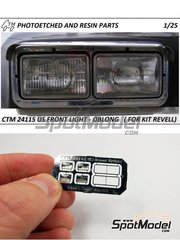 Czech Truck Model: Lights 1/25 scale - US front lights - oblong - photo-etched parts