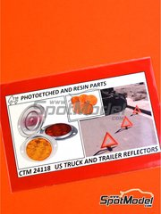 Czech Truck Model: Lights 1/24 scale - US truck and trailer reflectors - full colour photo-etched parts