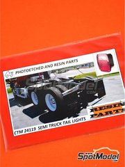 Czech Truck Model: Lights 1/24 scale - Semi truck tail lights - photo-etched parts and resin parts