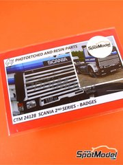 Czech Truck Model: Badges 1/24 scale - Scania 2nd series - photo-etched parts - for Italeri kits 753 and 780