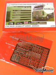 Czech Truck Model: Badges 1/24 scale - Scania 3rd series - photo-etched parts - for Italeri references 3812, 3838, 3881, 3910, 726 and 736 image