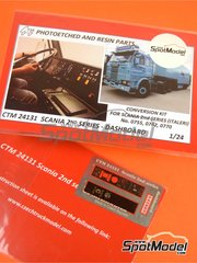 Czech Truck Model: Dashboard 1/24 scale - Scania 2nd series - full colour photo-etched parts - for Italeri kits 753 and 780