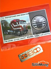 Czech Truck Model: Lights 1/24 scale - US Per - Lux fog lights round - photo-etched parts