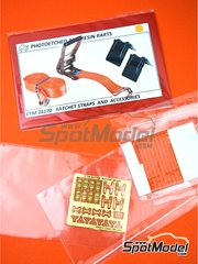 Czech Truck Model: Detail 1/24 scale - Ratchet straps orange and accesories - photo-etched parts, seatbelt fabric and other materials image