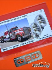 Czech Truck Model: Lights 1/24 scale - US fog lights round Per-Lux - photo-etched parts - 2 units image