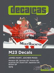 Decalcas: Marking / livery 1/20 scale - McLaren M23 Marlboro - James Hunt (GB), Jochen Mass (DE) - German Formula 1 Grand Prix, Austrian Formula 1 Grand Prix, French Formula 1 Grand Prix, Dutch Formula 1 Grand Prix, British Formula 1 Grand Prix, Japanese Formula 1 Grand Prix, Monaco Formula 1 Grand Prix 1976 - water slide decals and assembly instructions - for Tamiya references TAM20062 and 20062