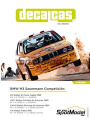 Decalcas: Marking / livery 1/24 scale - BMW M3 E30 Sauermann Competicion #1, 2, 3, 10 - Jose María Ponce (ES) + León Gaspar (ES), Jose María Ponce (ES) + José Carlos Déniz (ES) - El Corte Ingles Rally , Principe de Asturias Rally, Valeo Rally 1989, 1991 - water slide decals and assembly instructions - for Beemax Model Kits kit B24007, or Fujimi kit FJ125725 image
