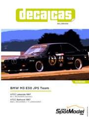 Decalcas: Decoración escala 1/24 - BMW M3 E30 JPS Team BMW Nº 3, 44 - Jim Richards (NZ) + Tony Longhurst (NZ) - Bathurst, Campeonato Australiano de Turismos ATCC 1987 - calcas de agua y manual de instrucciones - para kit de Beemax Model Kits B24007, o kit de Fujimi FJ125725