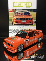 Decalcas: Marking / livery 1/24 scale - BMW M3 E30 Jägermeister Linder Motorsport #19, 20 - Armin Hahne (DE), Wayne Gardner (AU) - DTM Hockenheim 1992 - water slide decals and assembly instructions - for Beemax Model Kits references B24007 and Aoshima 098196
