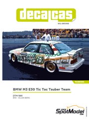 Decalcas: Marking / livery 1/24 scale - BMW M3 E30 Tic Tac Tauber Team #43 - Allen Berg (CA) - DTM 1991 - water slide decals and assembly instructions - for Beemax Model Kits references B24007 and Aoshima 098196