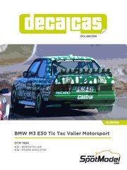 Decalcas: Marking / livery 1/24 scale - BMW M3 E30 Tic Tac Valier Motorsport #35, 36 - Alexander Burgstaller (DE), Franz Engstler (DE) - DTM  1992 - paint masks, water slide decals and assembly instructions - for Beemax Model Kits kit B24007