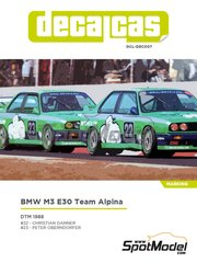 Decalcas: Decoración escala 1/24 - BMW M3 E30 Team Alpina Nº 22, 23 - Christian Danner (DE) + Peter Oberndorfer (DE) - DTM 1988 - calcas de agua y manual de instrucciones - para la referencia de Beemax Model Kits B24007