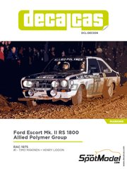 Decalcas: Decoración escala 1/24 - Ford Escort Mk. II RS 1800 Allied Polymer Group Nº 1 - Timo Mäkinen (FI) + Henry Liddon (GB) - Rally de Inglaterra RAC 1975 - calcas de agua y manual de instrucciones - para las referencias de ESCI 3009, 3021 y 3049, o las referencias de Italeri 3650, IT3650, ITA3650 y 3655, o las referencias de Revell REV07374 y 7374