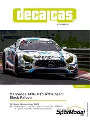 Decalcas: Decoración escala 1/24 - Mercedes AMG GT3 AMG Team Black Falcon Nº 4 - Maro Engel (DE) + Adam Christodoulou (GB) + Manuel Metzger (DE) + Bernd Schneider (DE) - 24 Horas de Nürburgring 2016 - calcas de agua y manual de instrucciones - para la referencia de Tamiya TAM24345
