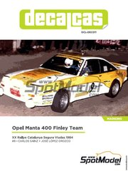 Decalcas: Marking / livery 1/24 scale - Opel Manta 400 Group B Opel Finley Team #9 - Carlos Sainz (ES) + José López Orozco (ES) - Rallye Catalunya 1984 - paint masks, water slide decals, assembly instructions and painting instructions - for Belkits references BEL008 and BEL009 image