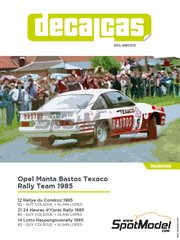 Decalcas: Marking / livery 1/24 scale - Opel Manta 400 Group B Bastos Texaco Rally Team #2, 3, 5 - Guy Coulsoul (BE) + Alain Lopes (BE) - 24 Hours de Ypres Rally, Condroz Rally, Haspengow Rally 1985 - water slide decals, assembly instructions and painting instructions - for Belkits references BEL008 and BEL009 image