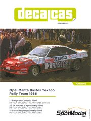 Decalcas: Marking / livery 1/24 scale - Opel Manta 400 Group B Bastos Texaco Rally Team #3, 6 ,8 - Guy Colsoul (BE) + Alain Lopes (BE) - 24 Hours de Ypres Rally, Condroz Rally, Haspengow Rally 1986 - water slide decals, assembly instructions and painting instructions - for Belkits references BEL008 and BEL009 image