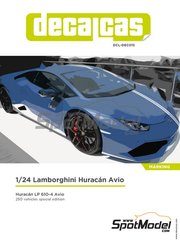 Decalcas: Marking / livery 1/24 scale - Lamborghini Huracán LP 610-4 Avio - paint masks, water slide decals and assembly instructions - for Aoshima reference 01382
