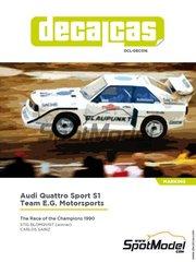 Decalcas: Decoración escala 1/24 - Audi Quattro Sport S1 Team E.G. Motorsports - Stig Blomqvist (SE), Carlos Sainz (ES) - La Carrera de Campeones 1990 - calcas de agua y manual de instrucciones