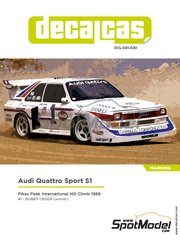 Decalcas: Decoración escala 1/24 - Audi Quattro Sport S1 - Robert William 'Bobby' Unser (US) - Pikes Peak Climb Hill Race 1986 - calcas de agua, manual de instrucciones e instrucciones de pintado - para la referencia de Beemax Model Kits B24017, o la referencia de Profil24 P24065, o la referencia de Reji Model REJI-2406