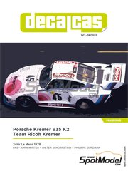 Decalcas: Marking / livery 1/24 scale - Porsche Kremer 935 K2 Team Ricoh Kremer #45 - John Winter (DE) + Dieter Schornstein (DE) + Philippe Gurdjian (FR) - 24 Hours Le Mans 1978 - water slide decals, assembly instructions and painting instructions - for Beemax Model Kits reference B24015