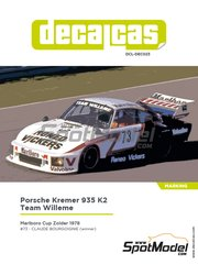 Decalcas: Marking / livery 1/24 scale - Porsche Kremer 935 K2 Team Willeme #73 - Claude Bourgoignie (BE) - Marlboro Cup Zolder DRM 1978 - water slide decals, assembly instructions and painting instructions - for Beemax Model Kits reference B24015