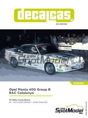 Decalcas: Marking / livery 1/24 scale - Opel Manta 400 Group B Real Automovil Club de Catalunya #4 - Salvador Serviá (ES) + Jordi Sabater (ES) - Costa Brava Rally 1984 - water slide decals, assembly instructions and painting instructions - for Belkits references BEL008 and BEL009