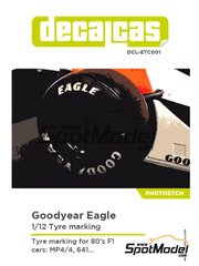 Decalcas: Logotypes 1/12 scale - Goodyear Eagle tyre marking set 1980, 1981, 1982, 1983, 1984, 1985, 1986, 1987, 1988 and 1989 - photo-etched parts