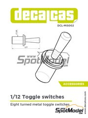 Decalcas: Detail 1/12 scale - Toggle switches - turned metal parts - 8 units