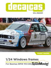Decalcas: Window frame paint masks 1/24 scale - BMW M3 E30 - paint masks and assembly instructions - for Beemax Model Kits references B24007 and B24016