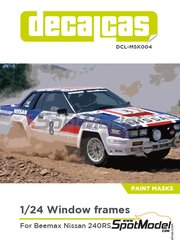 Decalcas: Window frame paint masks 1/24 scale - Nissan 240RS - placement instructions - for Beemax Model Kits kit B24008