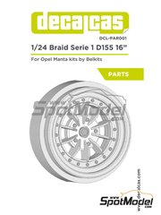 Decalcas: Rims 1/24 scale - Braid Serie 1 D155 16 inches - resin parts - for Belkits references BEL008, BEL-008, BEL009 and BEL-009, or Decalcas reference DCL-DEC017 - 2 units