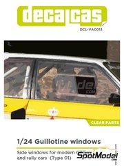 Decalcas: Clear parts 1/24 scale - Guillotine windows for modern GTS and rally cars - Type 01 - other materials