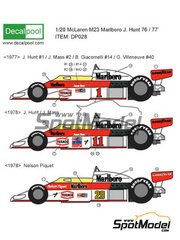 Decalpool: Marking / livery 1/20 scale - McLaren Ford M23 Marlboro Texaco #1, 2, 11, 12, 14, 40, 29 - James Hunt (GB), Jochen Mass (DE), Nelson Piquet (BR), Gilles Villeneuve (CA), Bruno Giacomelli (IT) - World Championship 1976, 1977, 1978 - water slide decals and assembly instructions - for Tamiya kit TAM20062