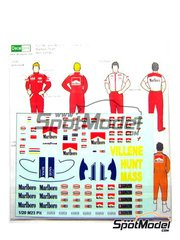 Decalpool: Marking / livery 1/20 scale - James Hunt, Gilles Villeneuve and crew Marlboro - James Hunt (GB) - FIA Formula 1 World Championship 1976 - water slide decals and assembly instructions - for Tamiya reference TAM20062