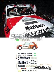 Decalpool: Decals 1/24 scale - Renault 5 Turbo Marlboro #5 - Alain Prost (FR) - Rally Du Var 1982 - for Heller reference 80717, or Tamiya reference TAM24027