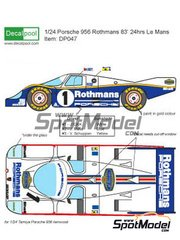 Decalpool: Marking / livery 1/24 scale - Porsche 956 Rothmans #1, 2, 3 - Jacques Bernard 'Jacky' Ickx (BE), Jochen Mass (DE), Vern Schuppan (AU) - 24 Hours Le Mans 1983 - water slide decals and assembly instructions - for Tamiya references TAM24047, TAM24049, TAM24232, TAM24309 and TAM24314