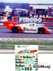 Decalpool: Marking 1/24 scale - Porsche 956 Marlboro #8 - Robert 'Bob' Wollek (FR) + Klaus Ludwig (DE) + Stefan Johansson (SE) - 24 Hours Le Mans 1983 - water slide decals and assembly instructions - for Tamiya kits TAM24047, TAM24232, TAM24309 and TAM24314