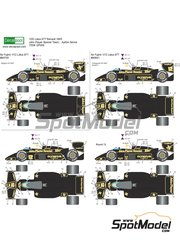 Decalpool: Marking / livery 1/20 scale - Lotus Renault 97T John Player Special #11, 12 - Ayrton Senna (BR), Elio de Angelis (IT) - Belgian Grand Prix, Portuguese Grand Prix 1985 - water slide decals and assembly instructions - for Fujimi references FJ09064, FJ090641, FJ09074 and FJ091952
