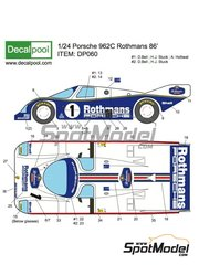 Decalpool: Marking / livery 1/24 scale - Porsche 962C Rothmans #1, 2 - Hans-Joachim Stuck (DE) + Alvah Robert 'Al' Holbert (US) + Derek Bell (GB) - 24 Hours Le Mans 1986 - water slide decals and assembly instructions - for Tamiya kits TAM24233 and TAM24313