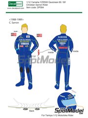 Decalpool: Marking / livery 1/12 scale - Christian Sarron Gauloises - Christian Sarron (FR) - Motorcycle World Championship 1988 and 1989 - water slide decals and assembly instructions - for Tamiya references TAM14122, TAM14123 and TAM14124