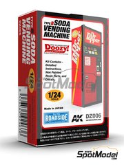 Doozy Modelworks: Model kit 1/24 scale - Dr Pepper soda vending machine - Type B - resin parts and water slide decals