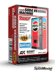 Doozy Modelworks: Model kit 1/24 scale - Pepsi soda vending machine - Type C - resin parts and water slide decals