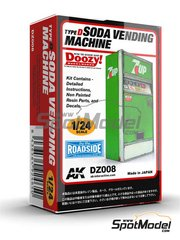 Doozy Modelworks: Model kit 1/24 scale - 7UP soda vending machine - Type D - resin parts and water slide decals