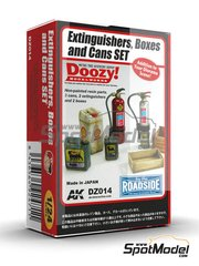 Doozy Modelworks: Model kit 1/24 scale - Extinguishers, boxes and cans set - resin parts and water slide decals