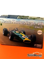 Ebbro: Model car kit 1/20 scale - Lotus Ford Type 49 Shell #3, 4, 5, 6, 20, 21 - Jim Clark (GB), Graham Hill (GB) - Dutch Grand Prix, British Grand Prix, Italian Grand Prix, Mexican Grand Prix, South African Grand Prix, USA Grand Prix 1967 and 1968 - plastic model kit