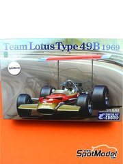 Ebbro: Model car kit 1/20 scale - Lotus Ford Type 49B Gold Leaf #1 - World Championship 1968 - plastic parts, rubber parts, water slide decals and assembly instructions
