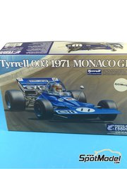 Ebbro: Model car kit 1/20 scale - Tyrrell Ford 003 ELF #11,12, 5, 6 - Sir John Young 'Jackie' Stewart (GB), Francois Cevert (FR) - Spanish Grand Prix, Monaco Grand Prix 1971 - plastic model kit